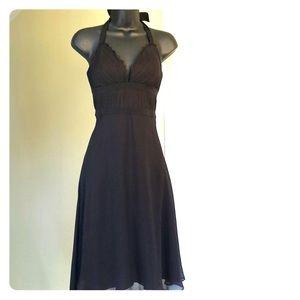 WHBM sz 2 halter black silk dress